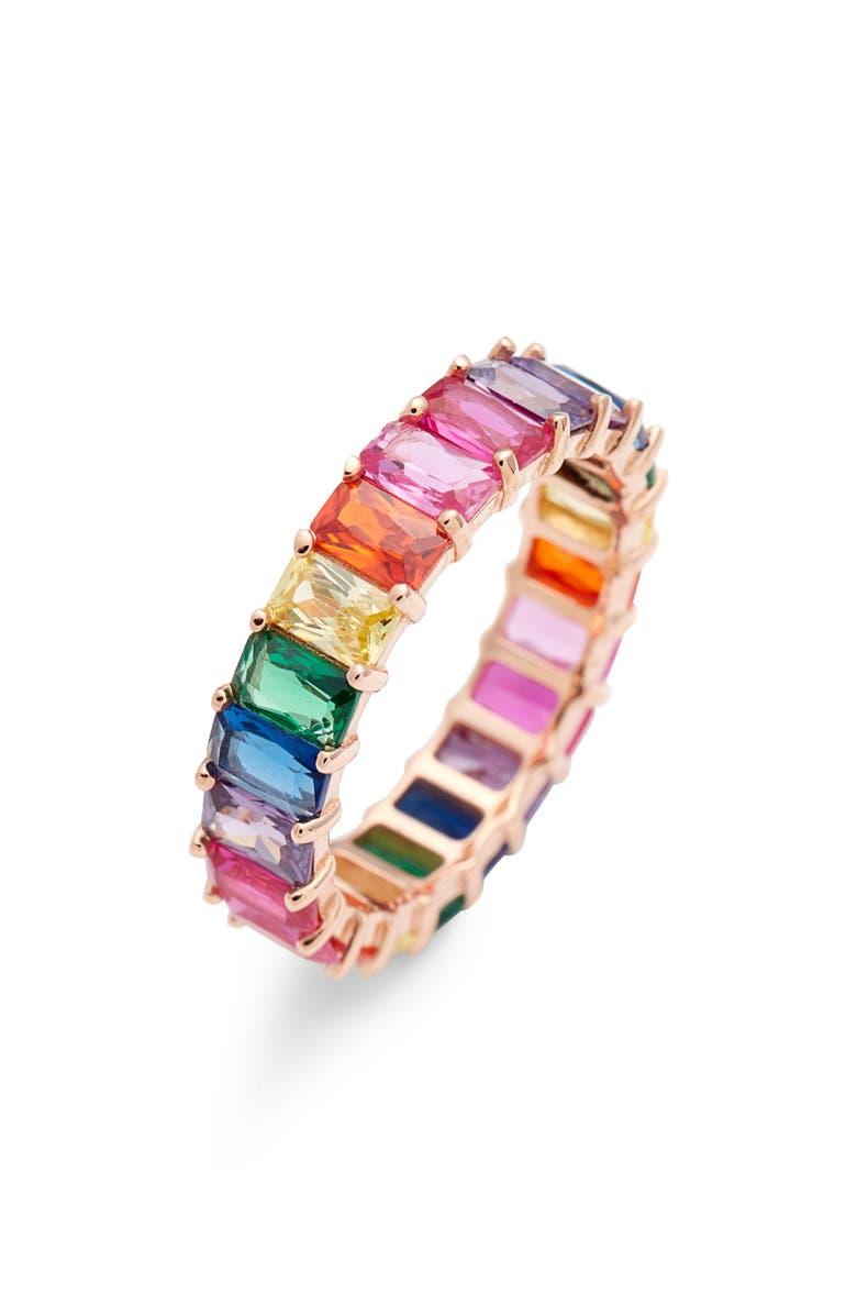 ADINA'S JEWELS Adina's Jewels Rainbow Crystal Ring, Main, color, MULTI-COLOR