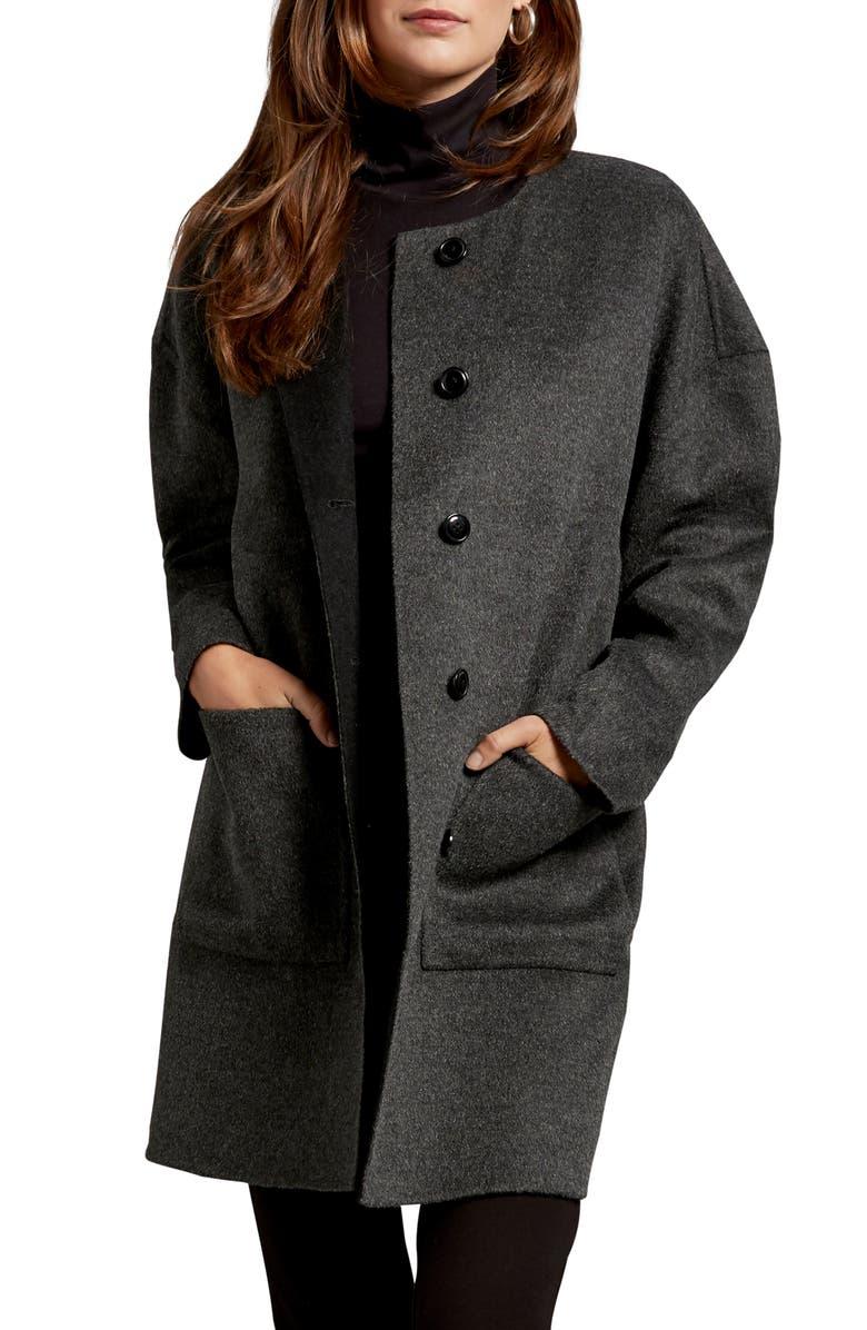 MICHAEL STARS Pamela Portola Double Face Wool Blend Coat, Main, color, CHARCOAL/ BLACK