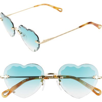 Chloe Rosie 55Mm Heart Shaped Sunglasses - Gradient Turquoise/ Gold