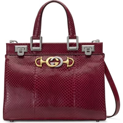 Gucci Smallgenuine Snakeskin Satchel - Burgundy