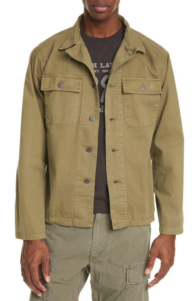 RRL Curtis Military Shirt Jacket, Main, color, OLIVE DRAB