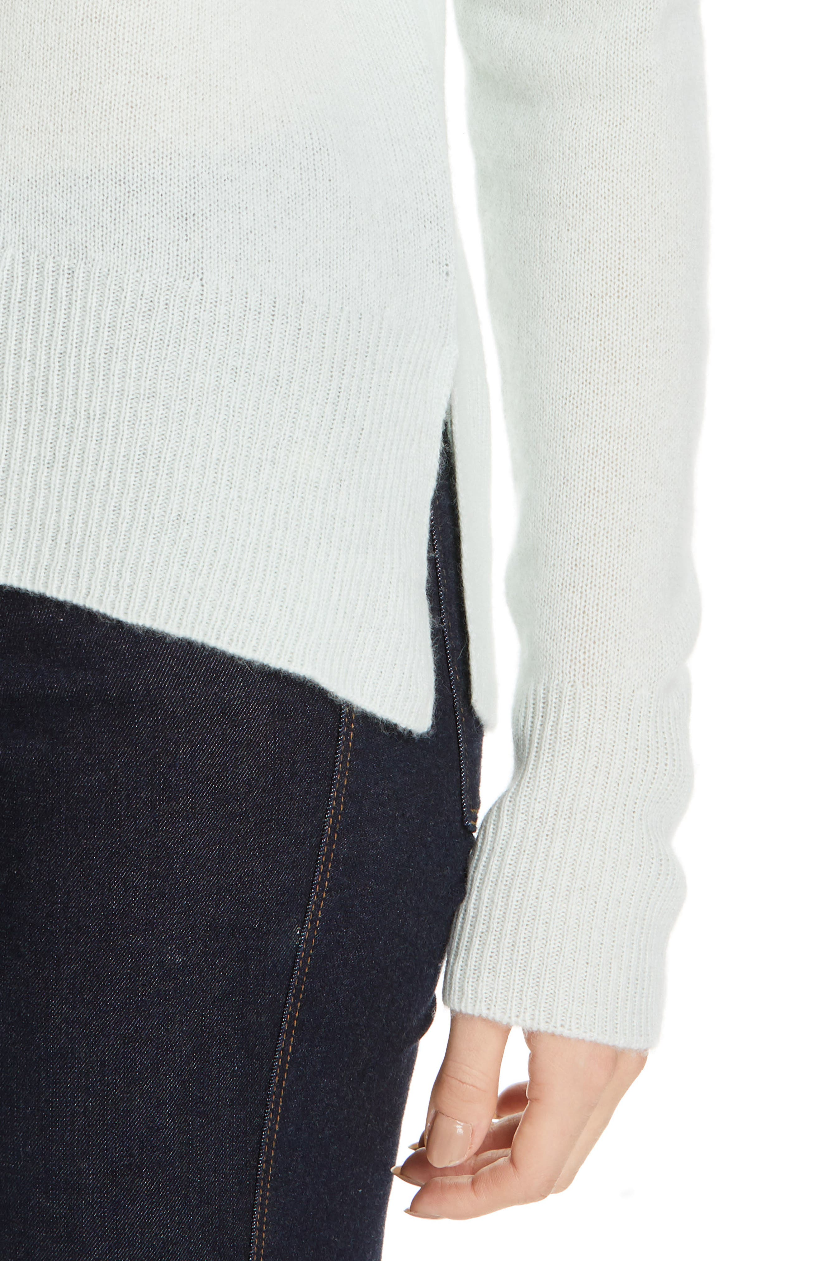 ,                             Karenia Long Sleeve Cashmere Sweater,                             Alternate thumbnail 4, color,                             OPAL GREEN