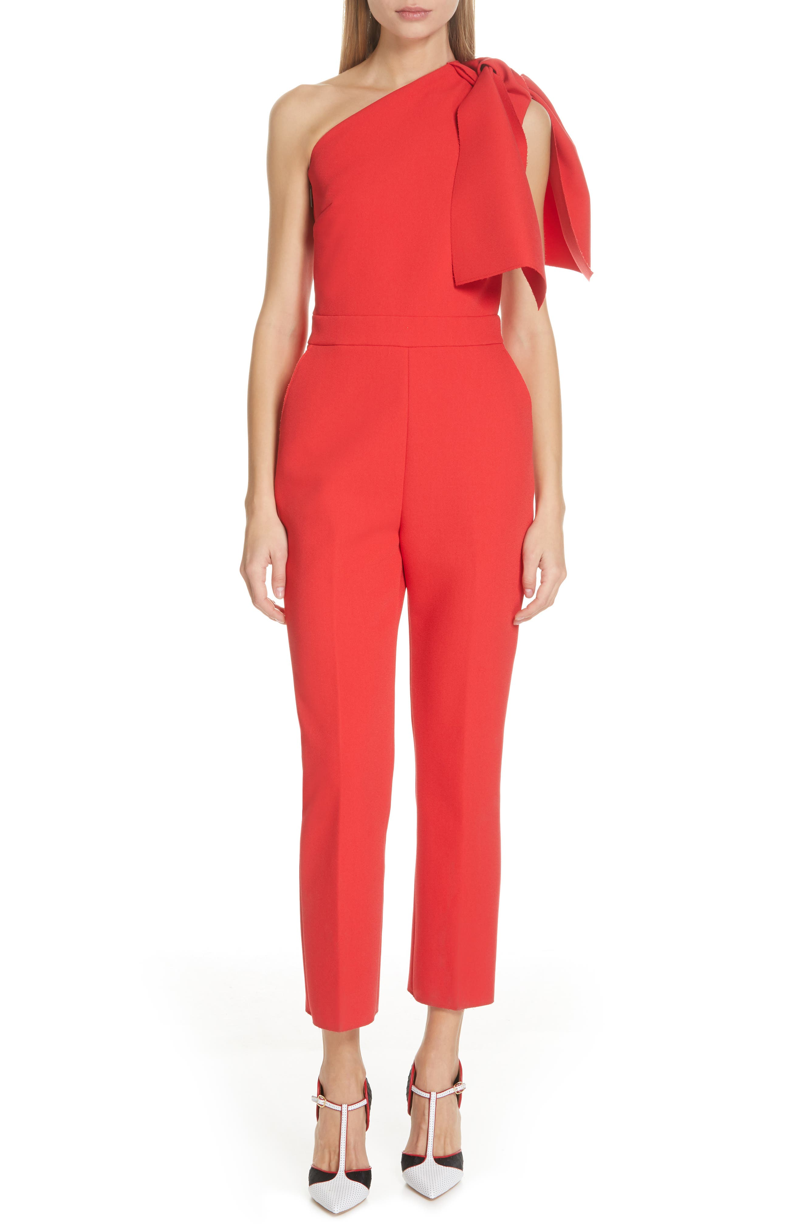 ,                             Bow One-Shoulder Jumpsuit,                             Main thumbnail 1, color,                             RED