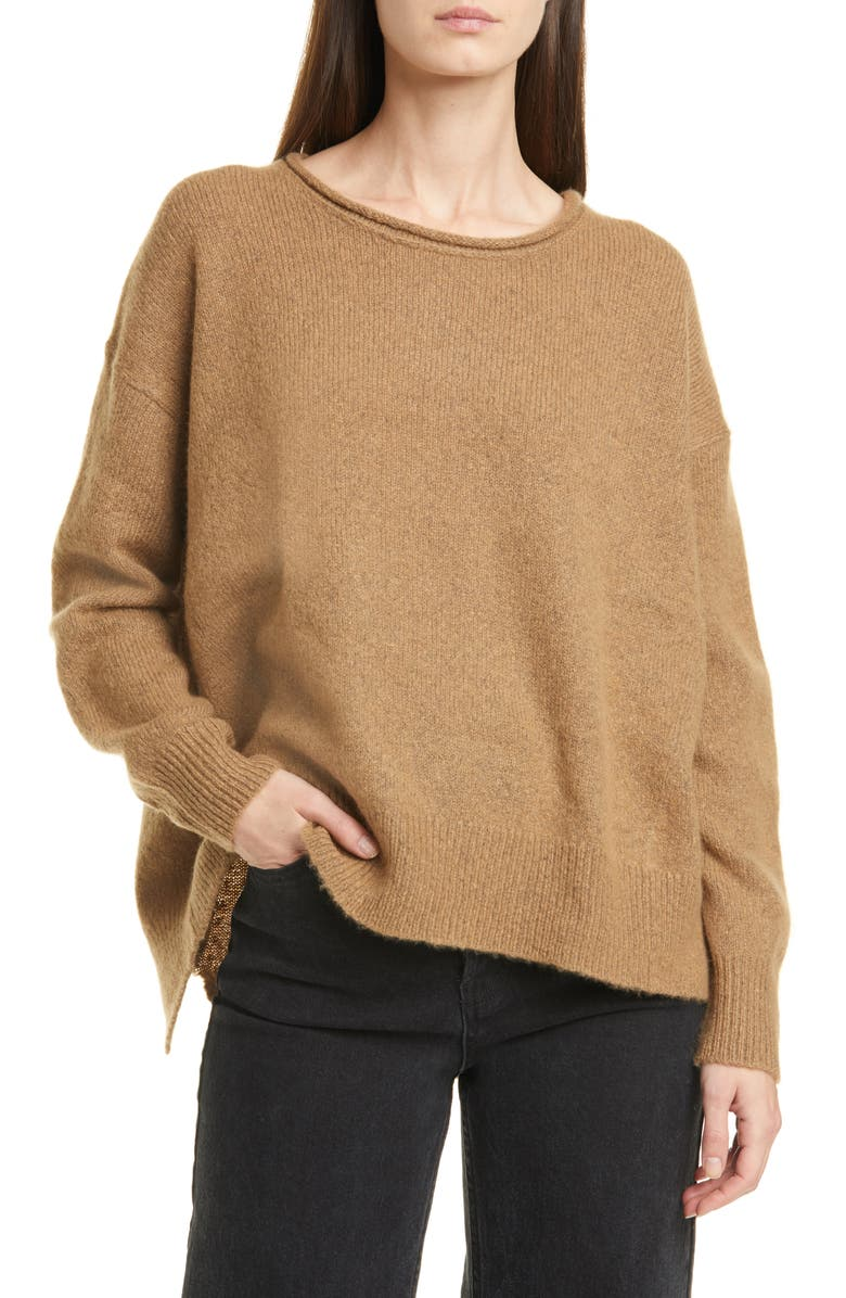 JAMES PERSE High/Low Cashmere Sweater, Main, color, WALNUT