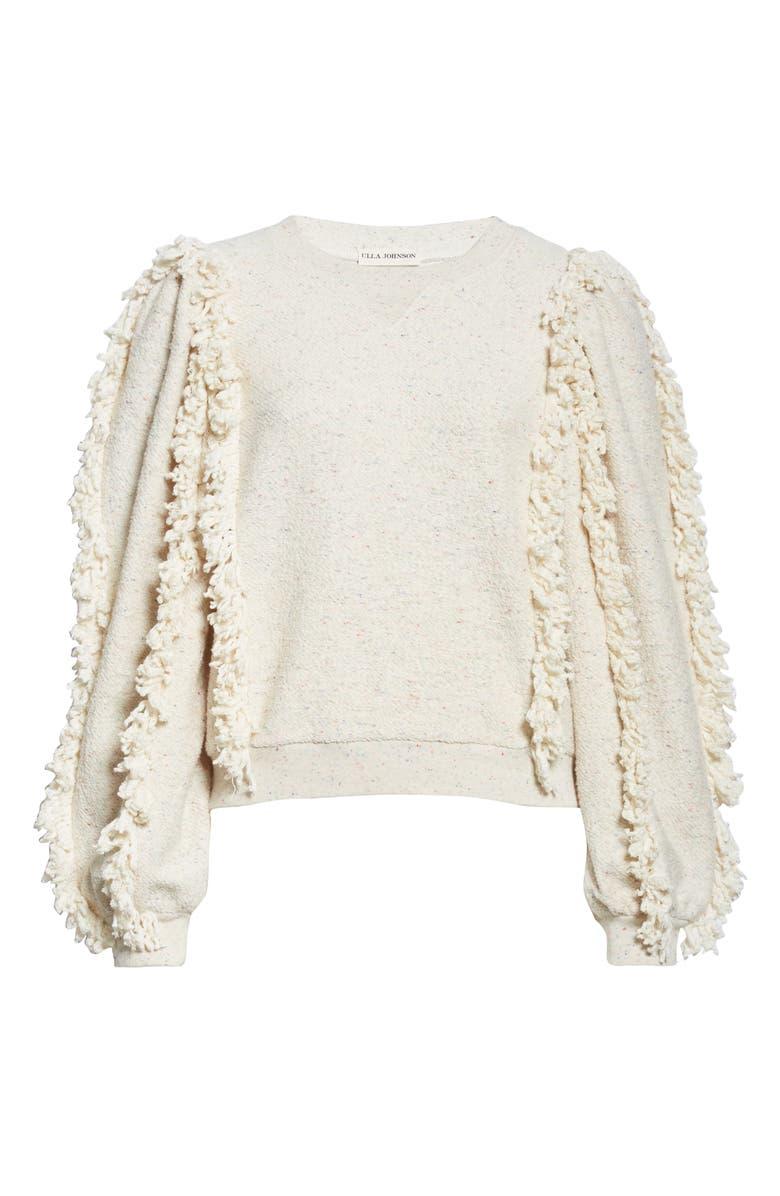 ULLA JOHNSON Sage Fringe Sleeve Sweatshirt, Main, color, NATURAL