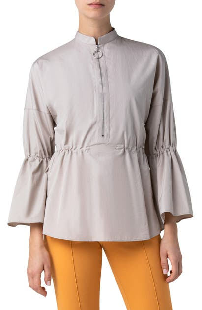 Akris Punto HALF ZIP COTTON POPLIN BLOUSE