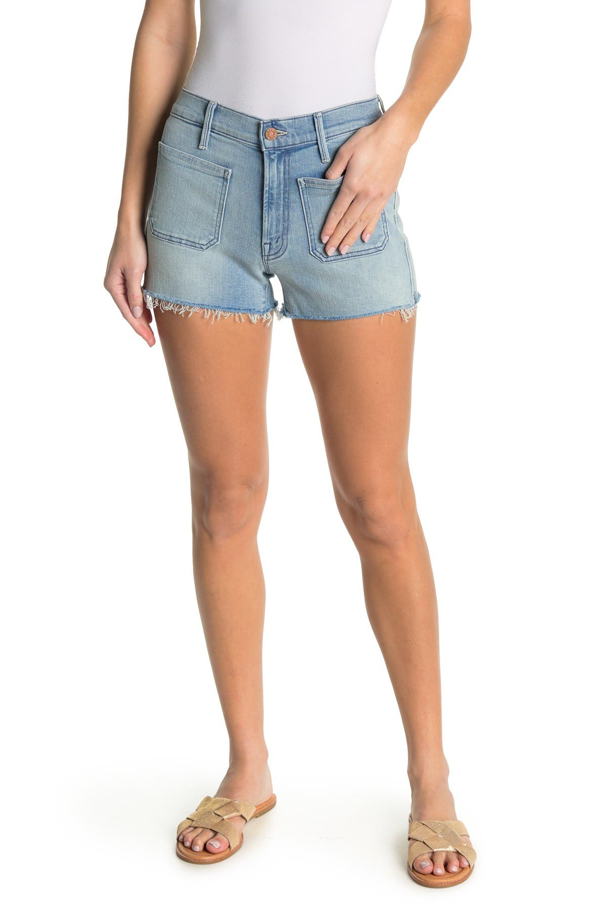 Image of MOTHER The Patchie Raw Hem Denim Shorts