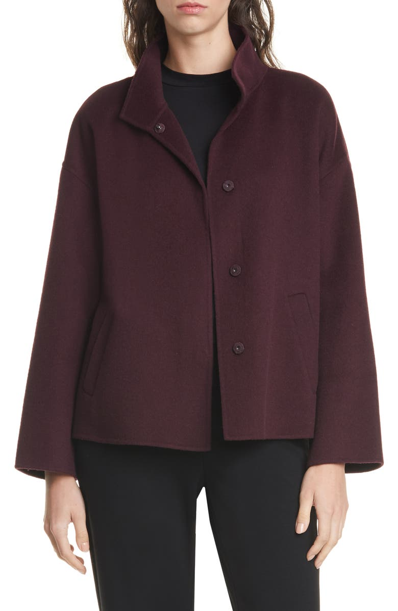 EILEEN FISHER Stand Collar Boxy Coat, Main, color, CASSIS