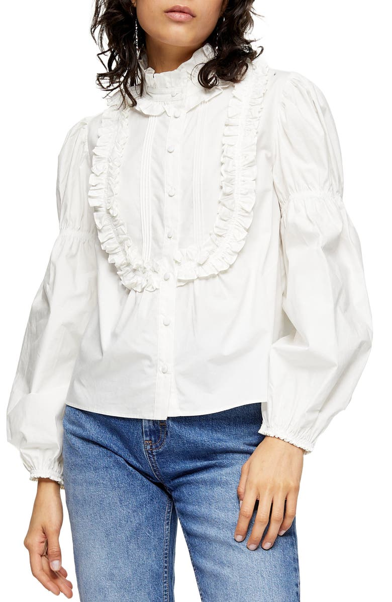 TOPSHOP Victorian Puff Sleeve Blouse, Main, color, WHITE