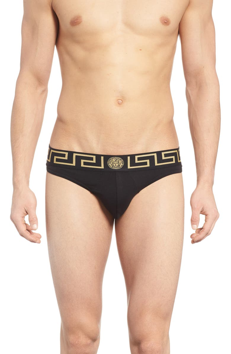 VERSACE Cotton Thong, Main, color, BLACK/ GOLD