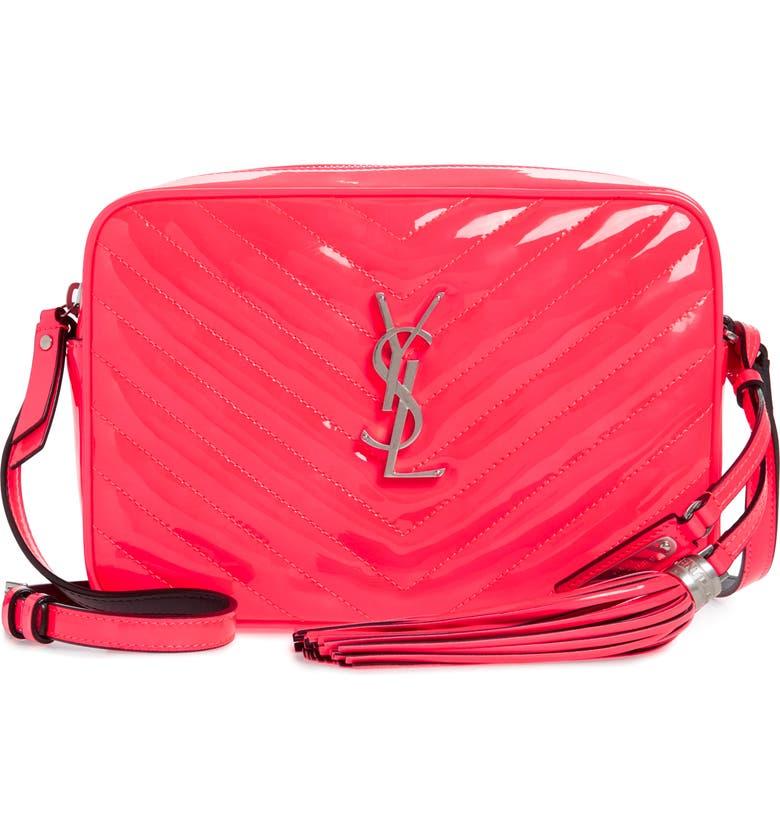 SAINT LAURENT Lou Matelassé Leather Crossbody Bag, Main, color, NEON PINK