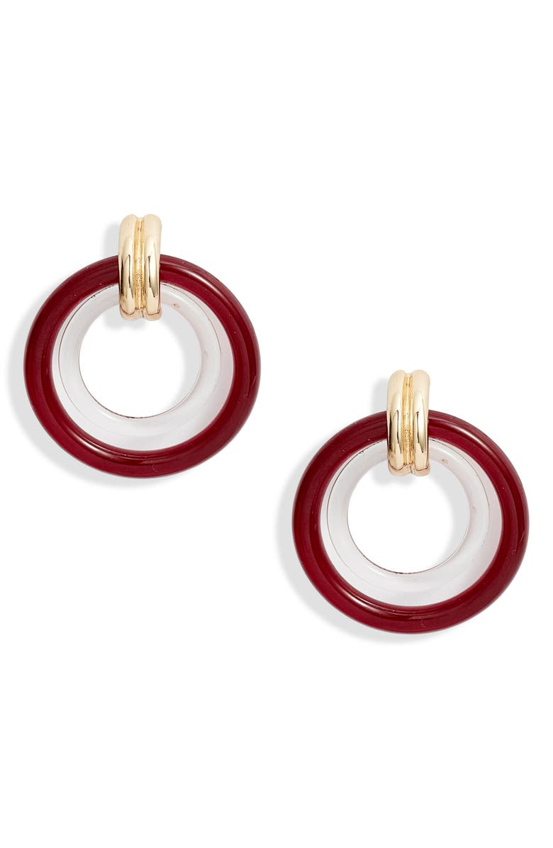 HALOGEN<SUP>®</SUP> Two-Tone Resin Frontal Hoop Earrings, Main, color, CLEAR- PLUM- GOLD