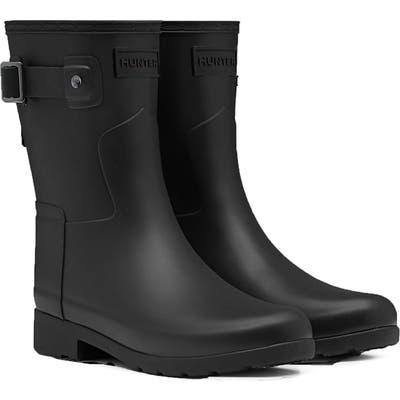 Hunter Original Refined Short Waterproof Rain Boot, Black