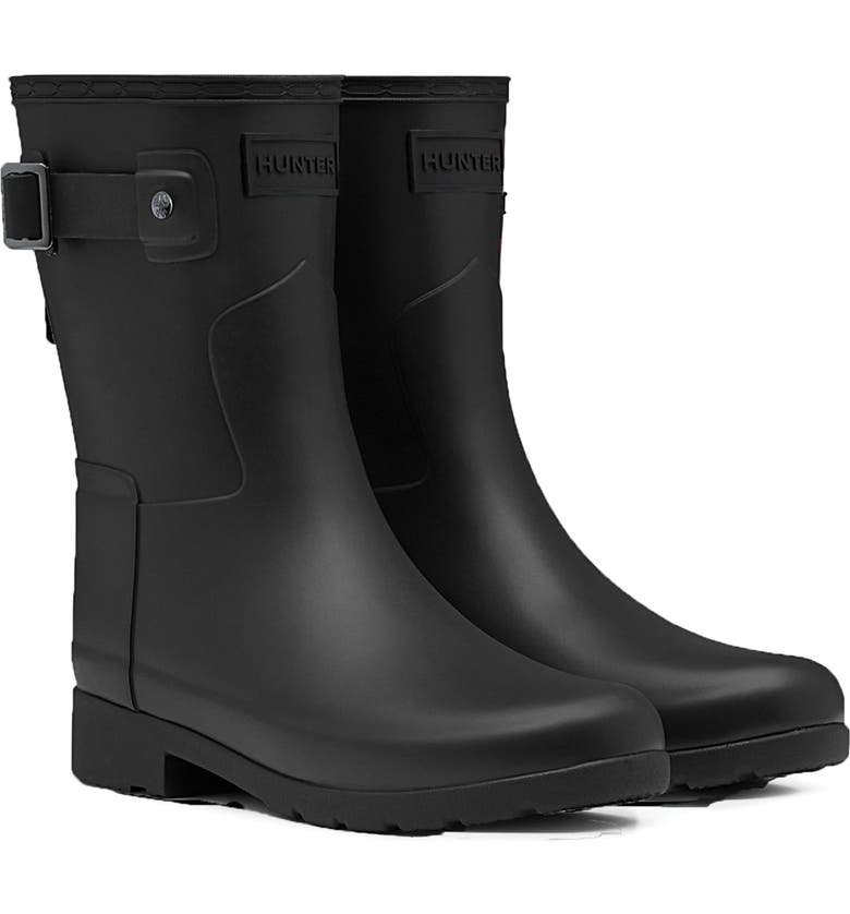 HUNTER Original Refined Short Waterproof Rain Boot, Main, color, BLACK
