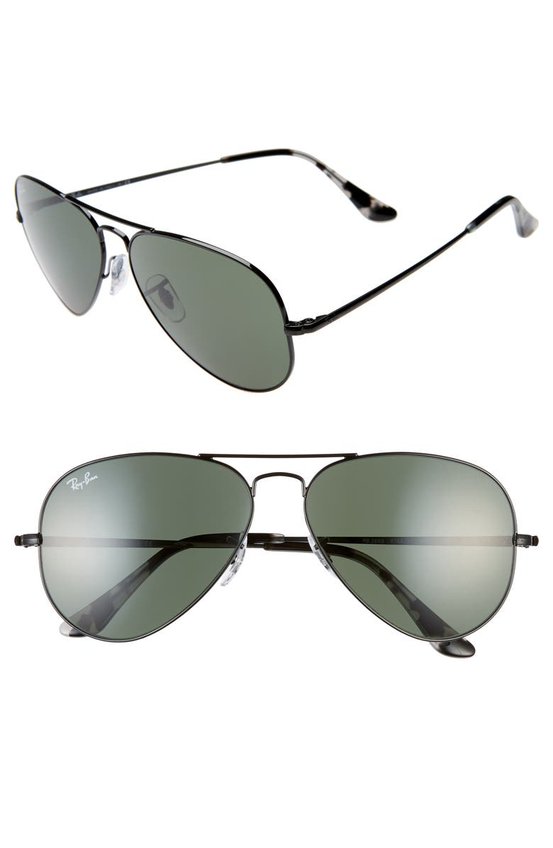 RAY-BAN 58mm Aviator Sunglasses, Main, color, BLACK/ BLACK SOLID