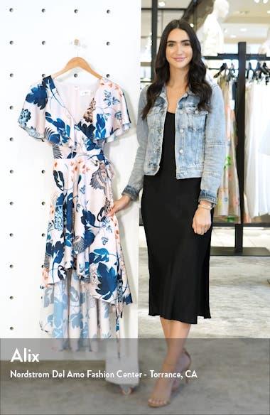 Floral Flutter High/Low Faux Wrap Dress, sales video thumbnail