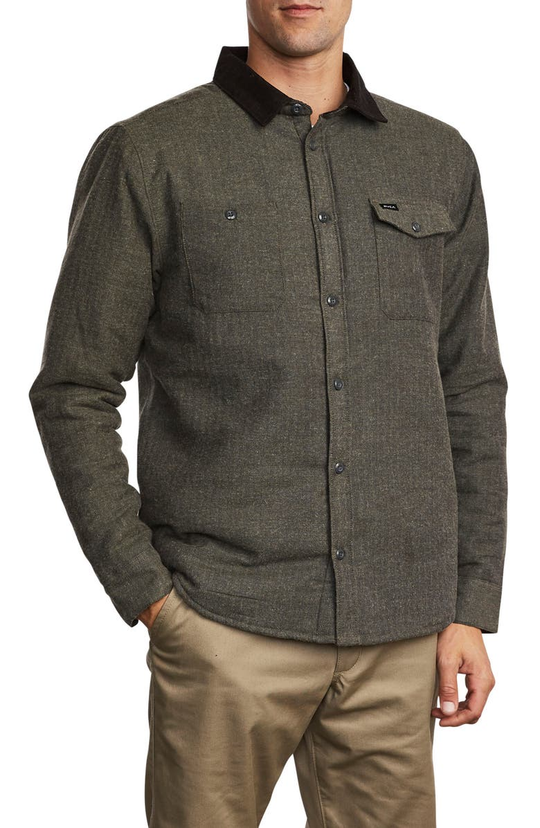 RVCA Victory II Button-Up Shirt, Main, color, OLIVE HEATHER