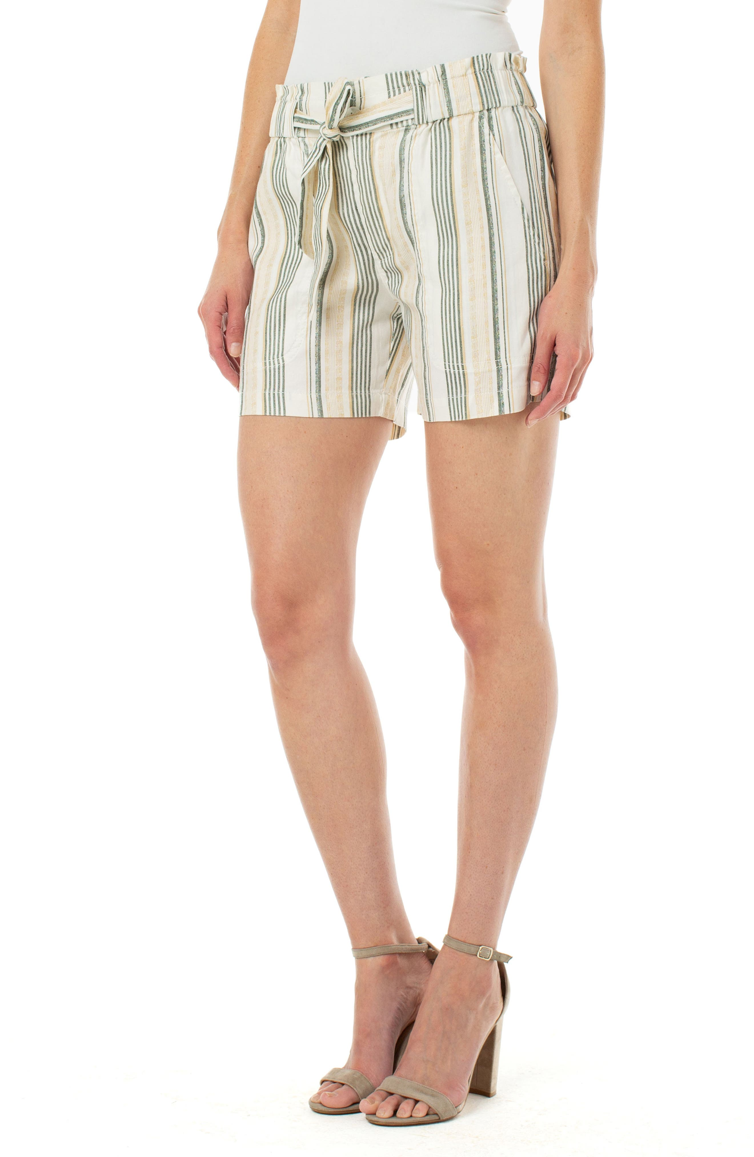 Sun-faded stripes pattern these light linen-blend shorts cinched into a ruffled paperbag waist. Style Name: Liverpool Stripe Porkchop Pocket Belted Linen Blend Shorts. Style Number: 6073029. Available in stores.