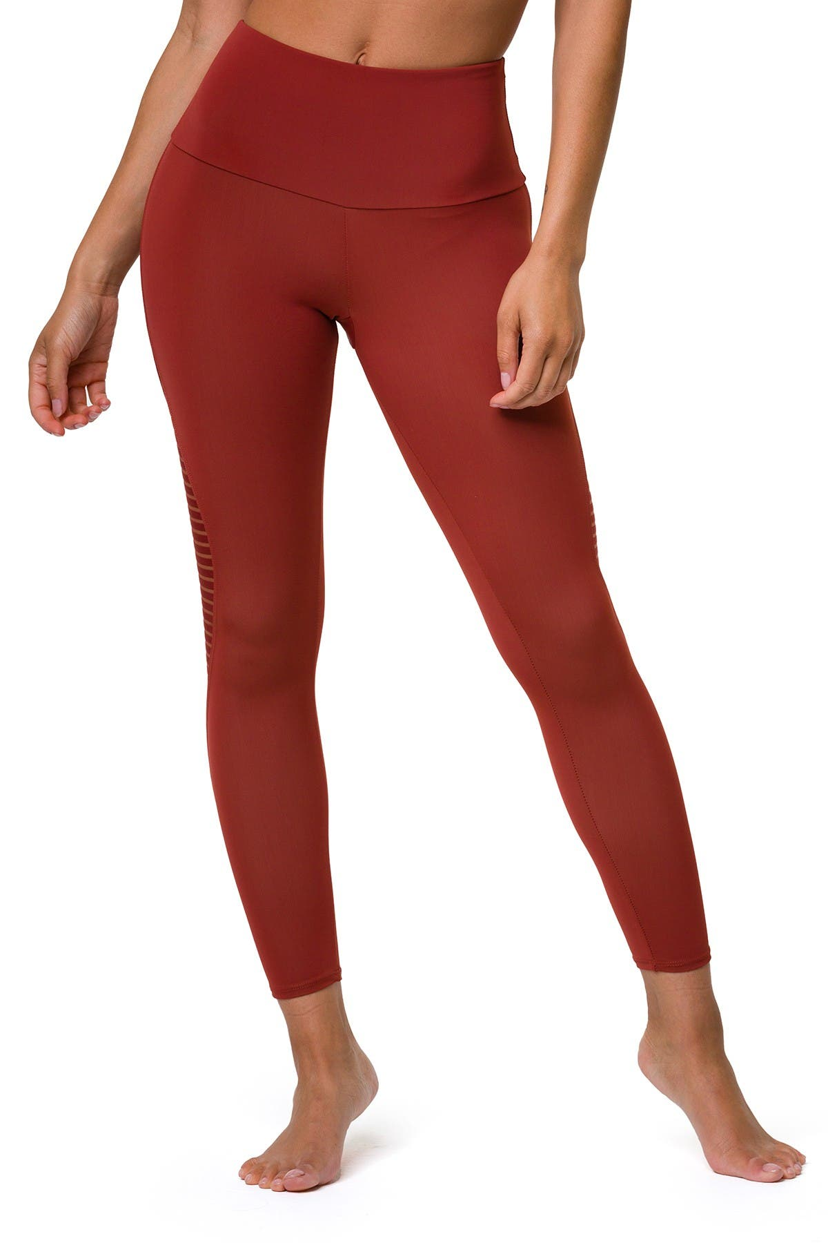 Image of ONZIE Shape Midi High Waist Mesh Stripe Leggings