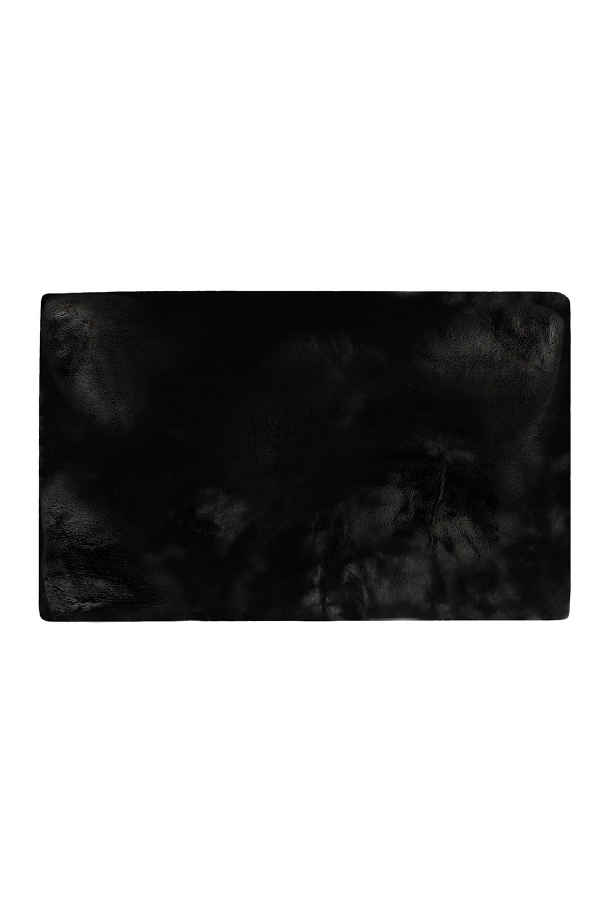 Image of LUXE Faux Fur Rectangular Throw 3' X 5' - Black