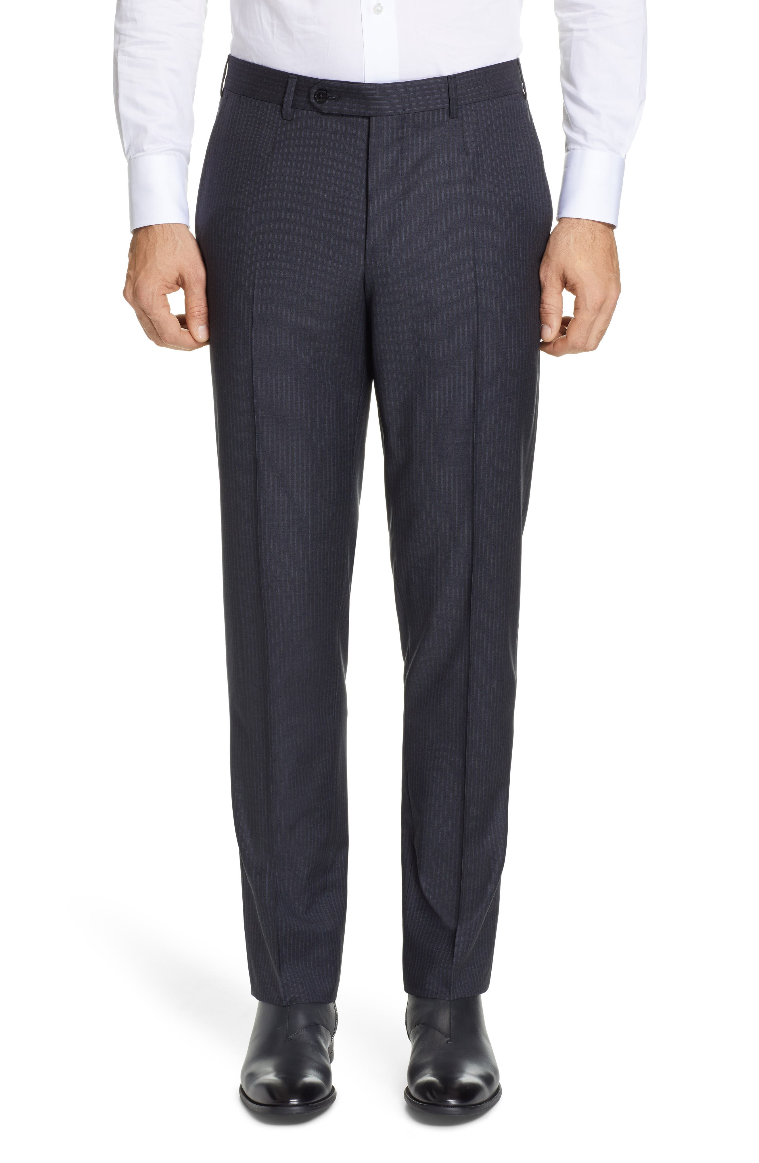,                             Milano Classic Fit Stripe Wool Suit,                             Alternate thumbnail 6, color,                             CHARCOAL