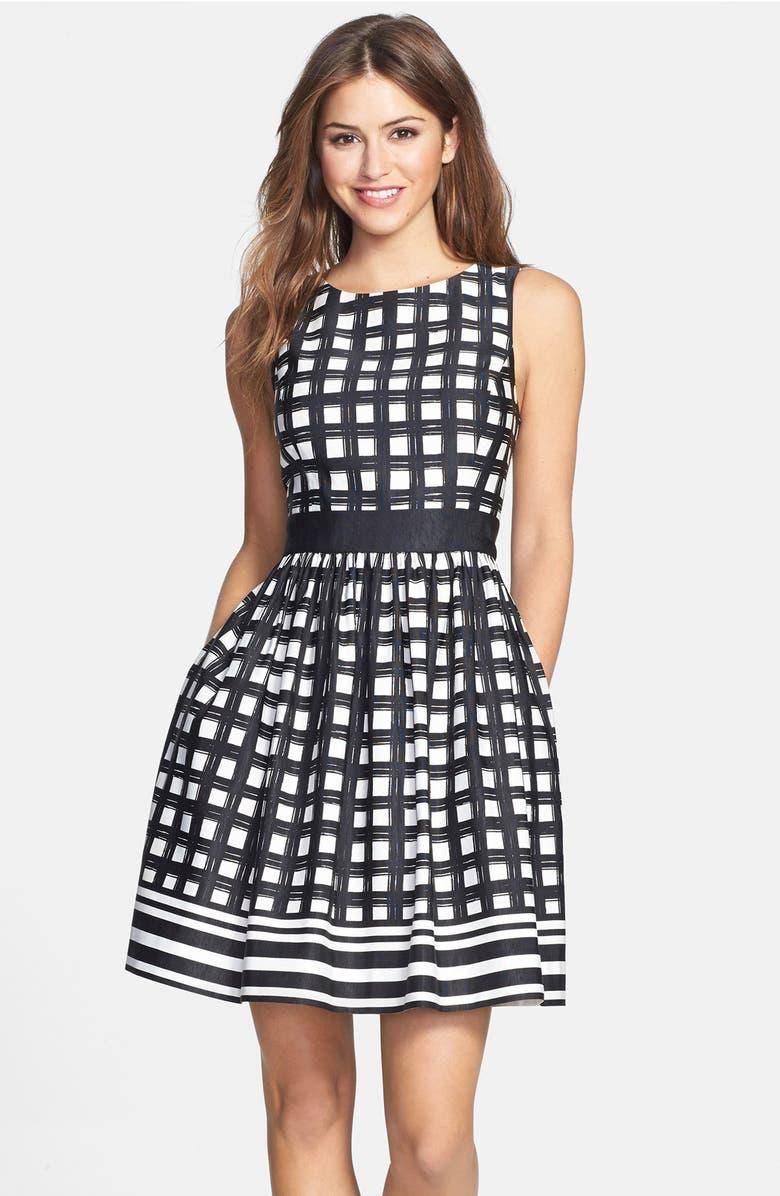 ELIZA J Print Faille Fit & Flare Dress, Main, color, 001