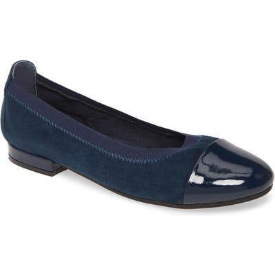 David Tate Nicole Cap Toe Flat, Blue