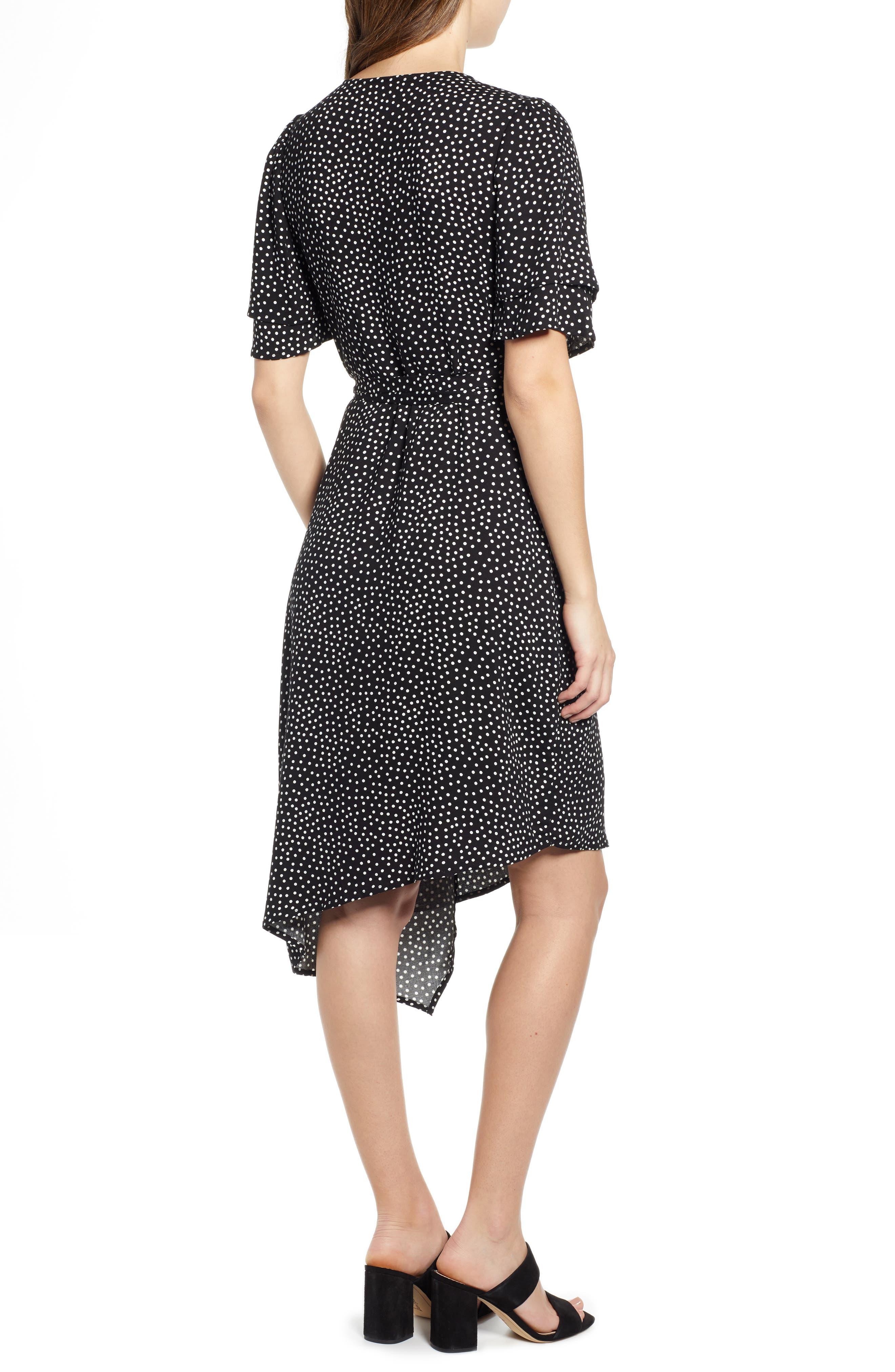 ,                             Ruffle Sleeve Wrap Dress,                             Alternate thumbnail 9, color,                             001