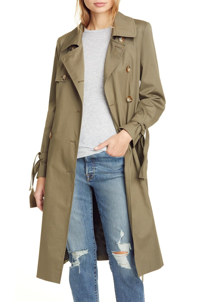 HELENE BERMAN Double Breasted Tie Cuff Stretch Cotton Trench Coat, Main, color, KHAKI