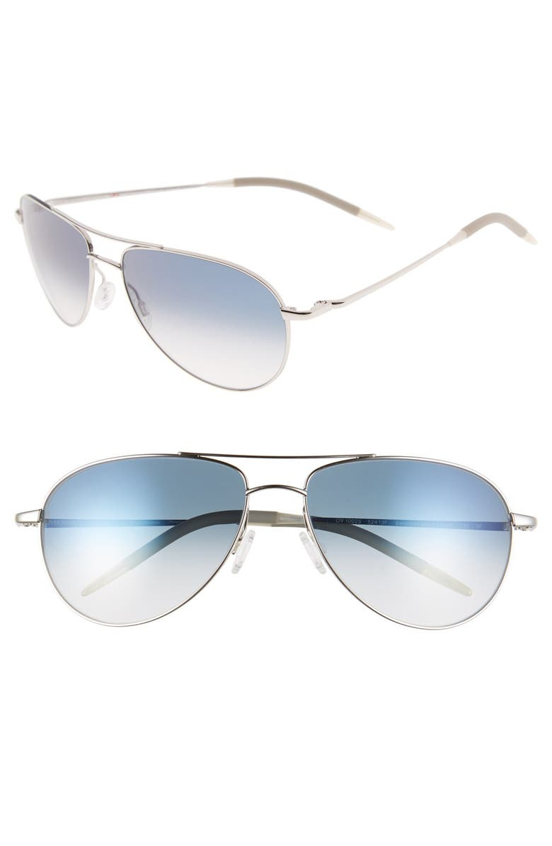 OLIVER PEOPLES 'Benedict' 59mm Gradient Aviator Sunglasses, Main, color, SILVER/ CHROME SAPPHIRE
