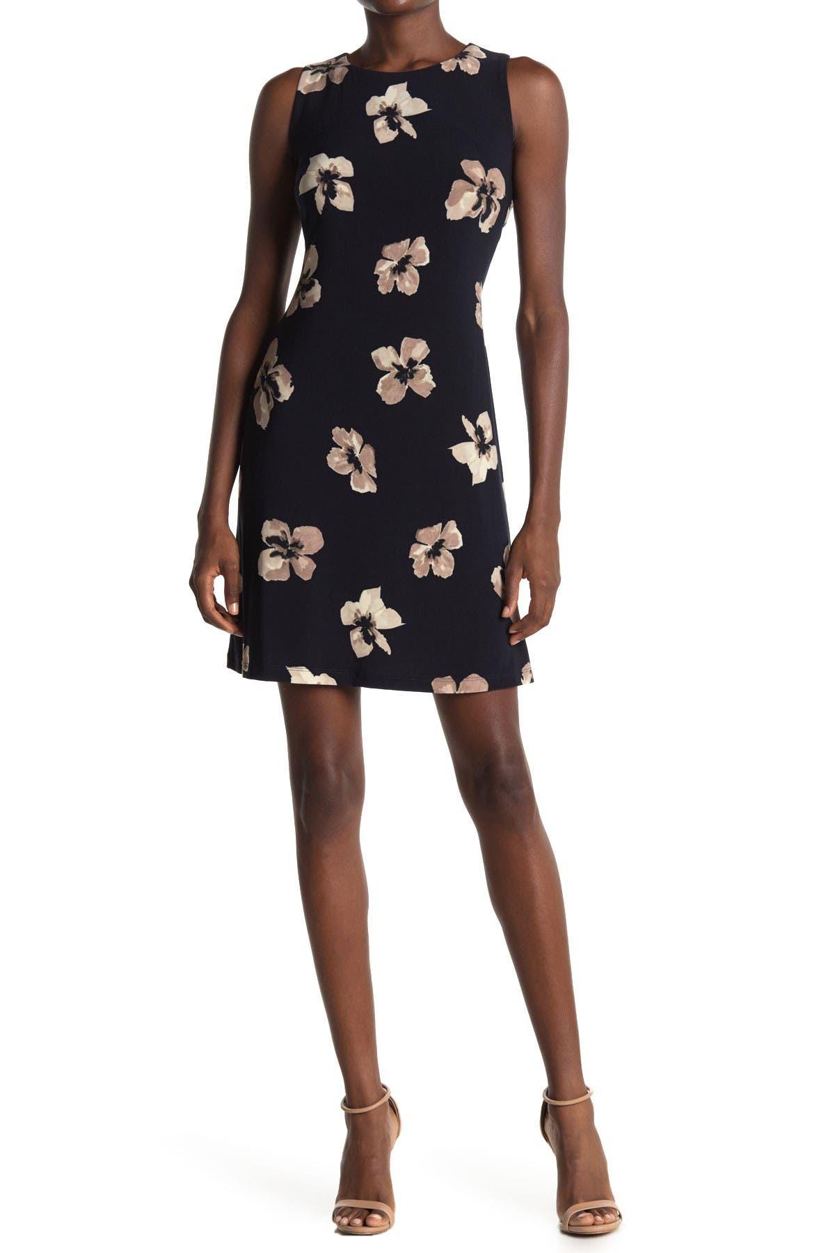 Image of Tommy Hilfiger Floral Sleeveless Jersey Shift Dress