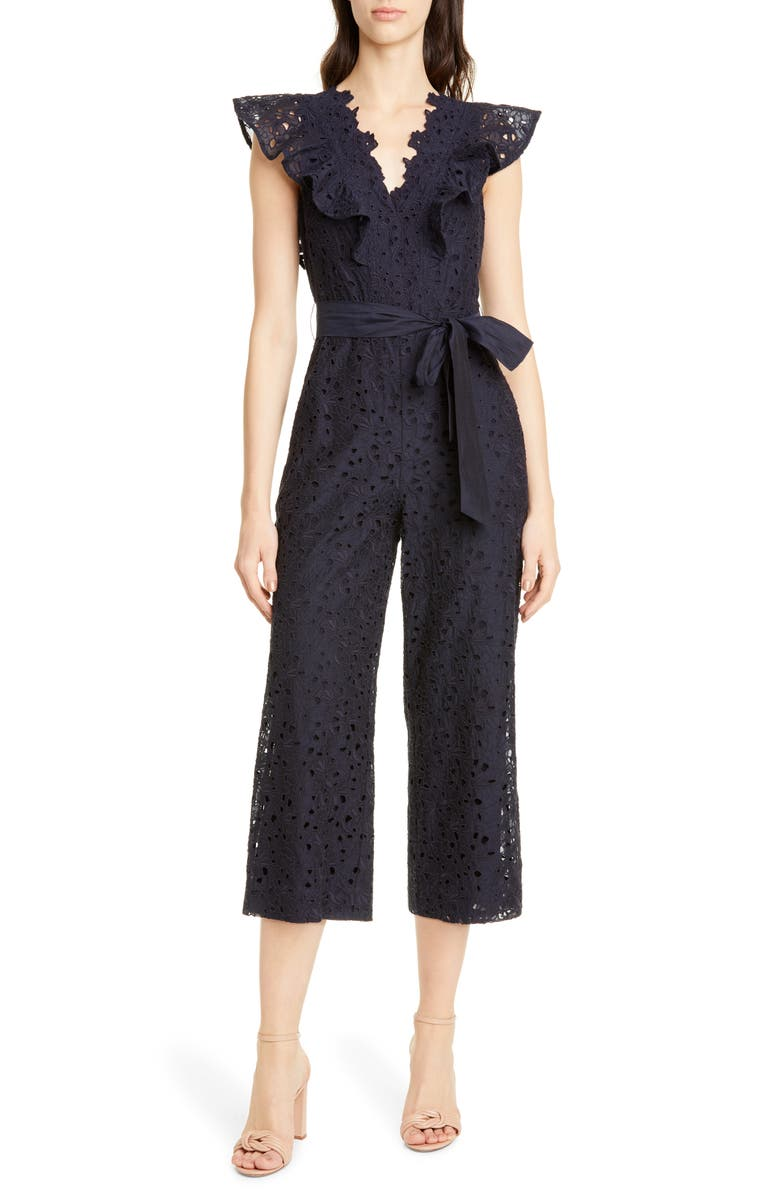 Clover Cap Sleeve Cotton & Silk Eyelet Jumpsuit by Rebecca Taylor