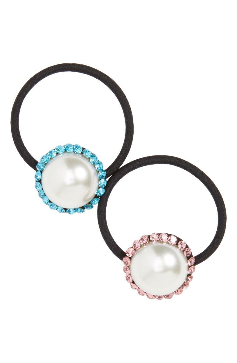 CARA Set of 2 Imitation Pearl & Crystal Ponytail Holders, Main, color, PINK/ BLUE