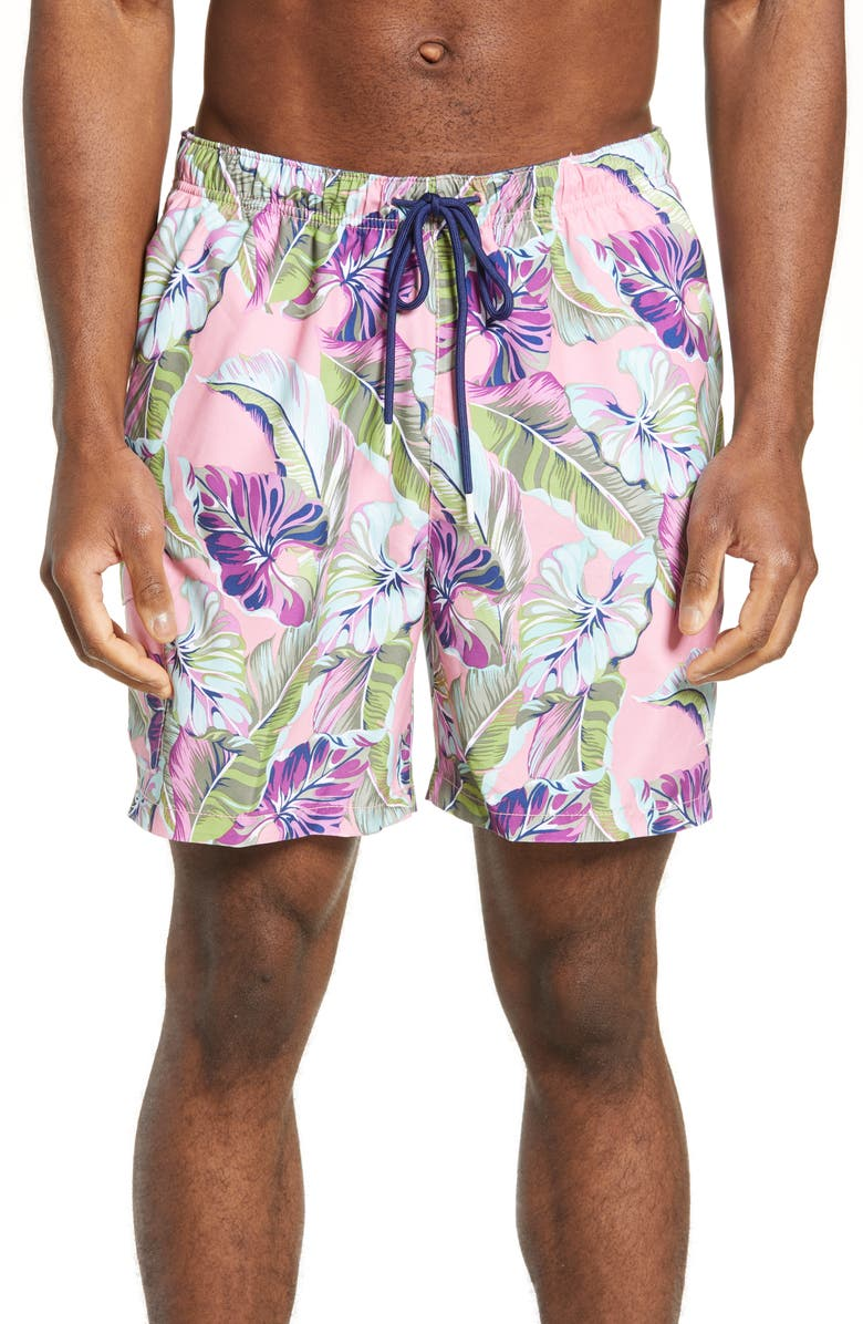 TOMMY BAHAMA Naples Let's Be Fronds Classic Fit Swim Trunks, Main, color, DARK PEONY