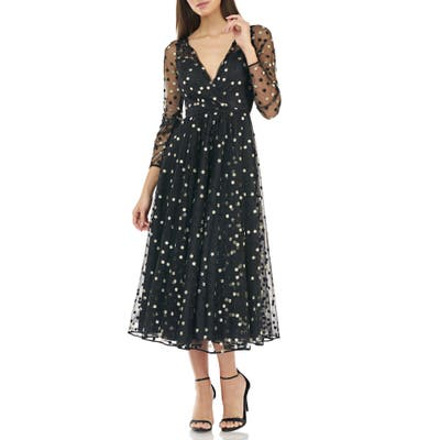 Carmen Marc Valvo Infusion Embroidered Tulle Faux Wrap Cocktail Dress, Black