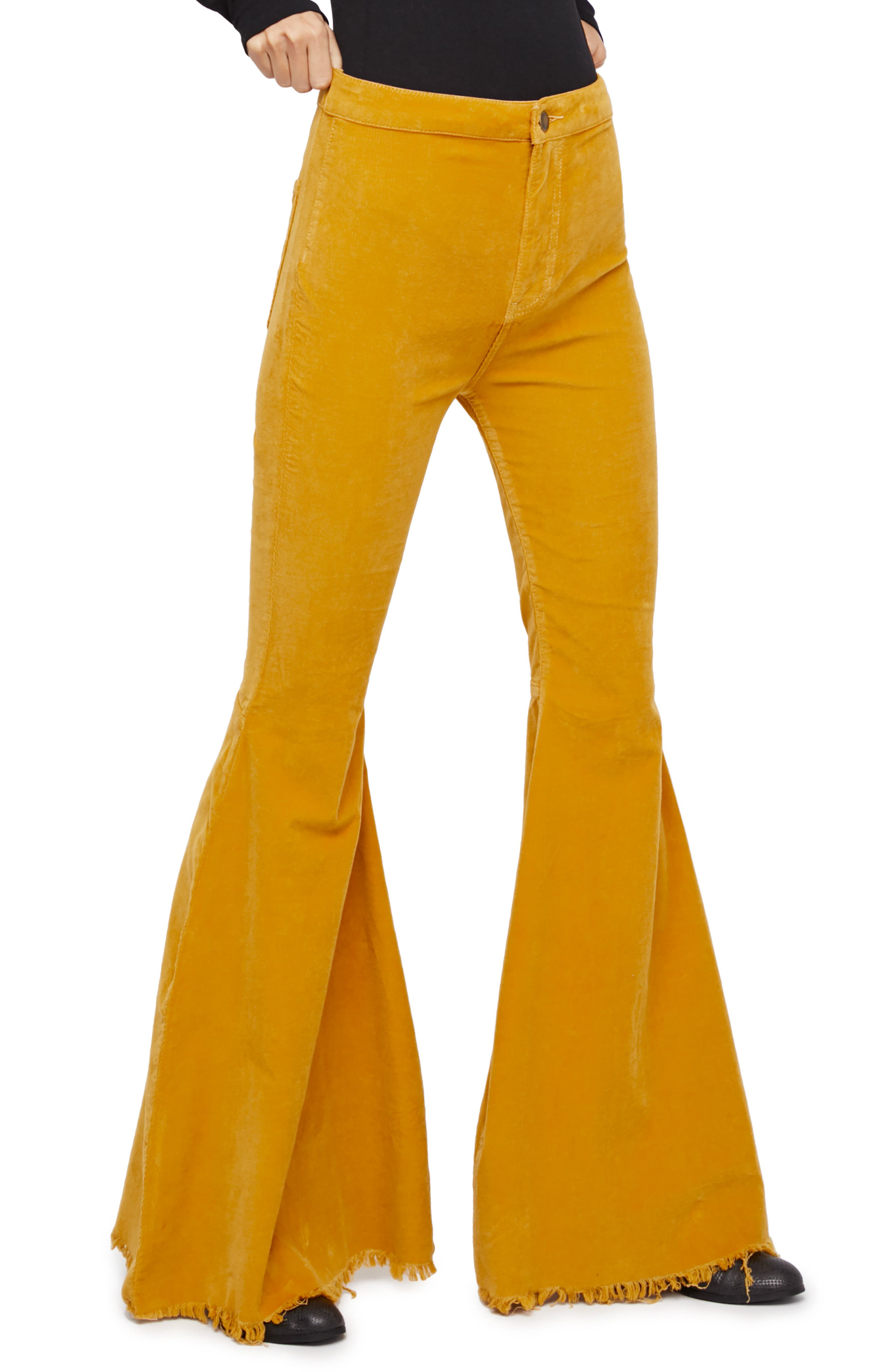 Vintage High Waisted Trousers, Sailor Pants, Jeans Womens Free People Just Float Corduroy Flare Pants Size 25 - Yellow $78.00 AT vintagedancer.com