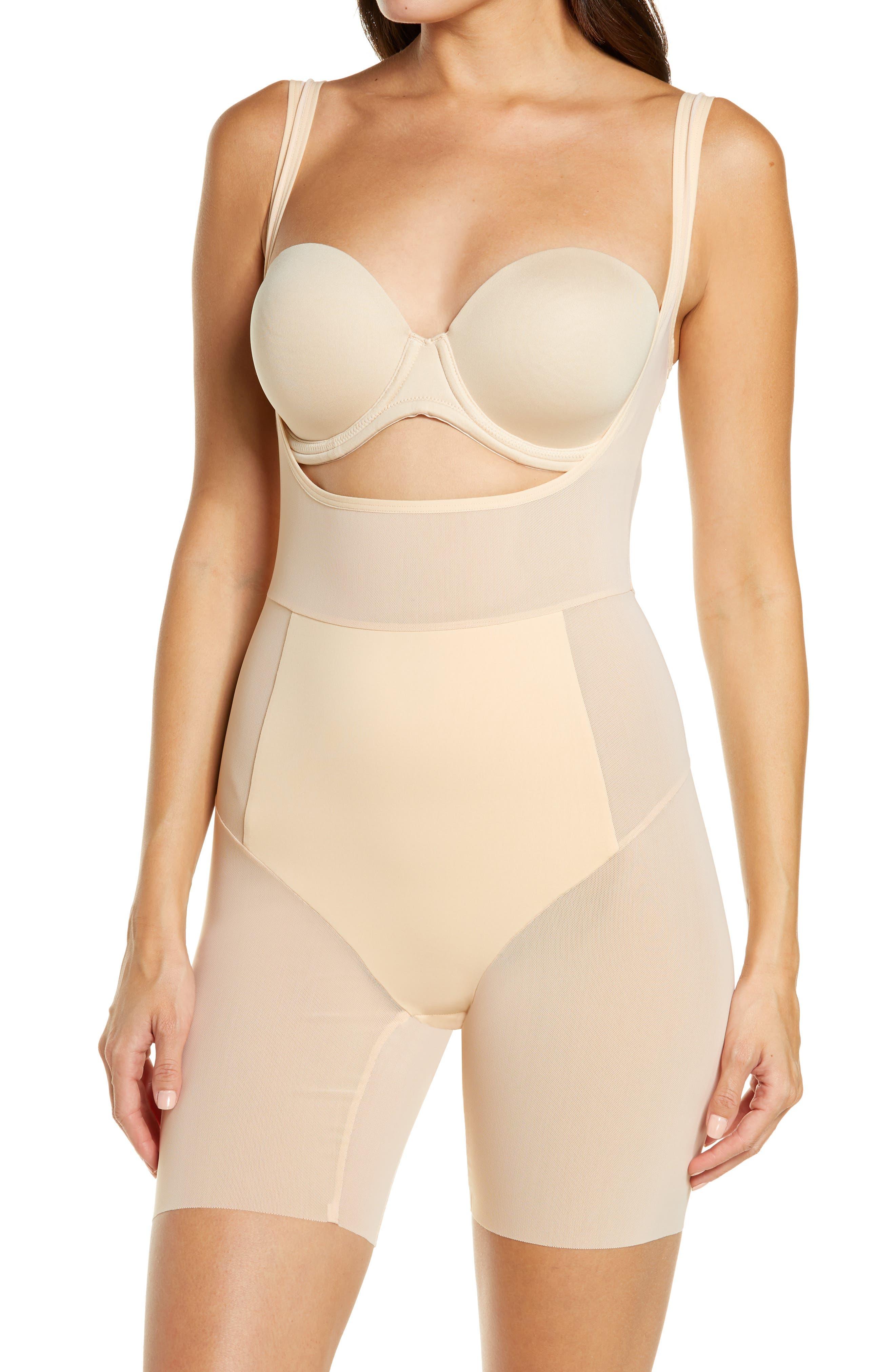 Power Mesh Open Bust Shape Bodysuit