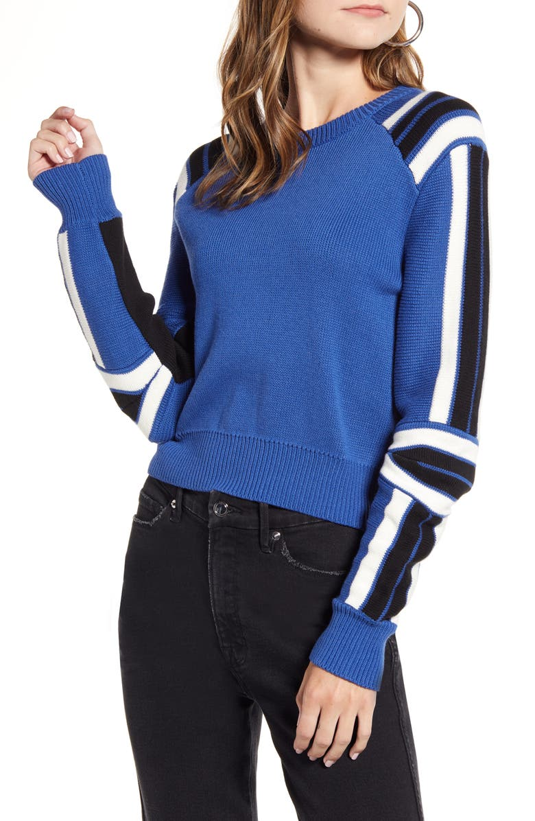 REBECCA MINKOFF Stripe Detail Cotton Blend Sweater, Main, color, BLUE