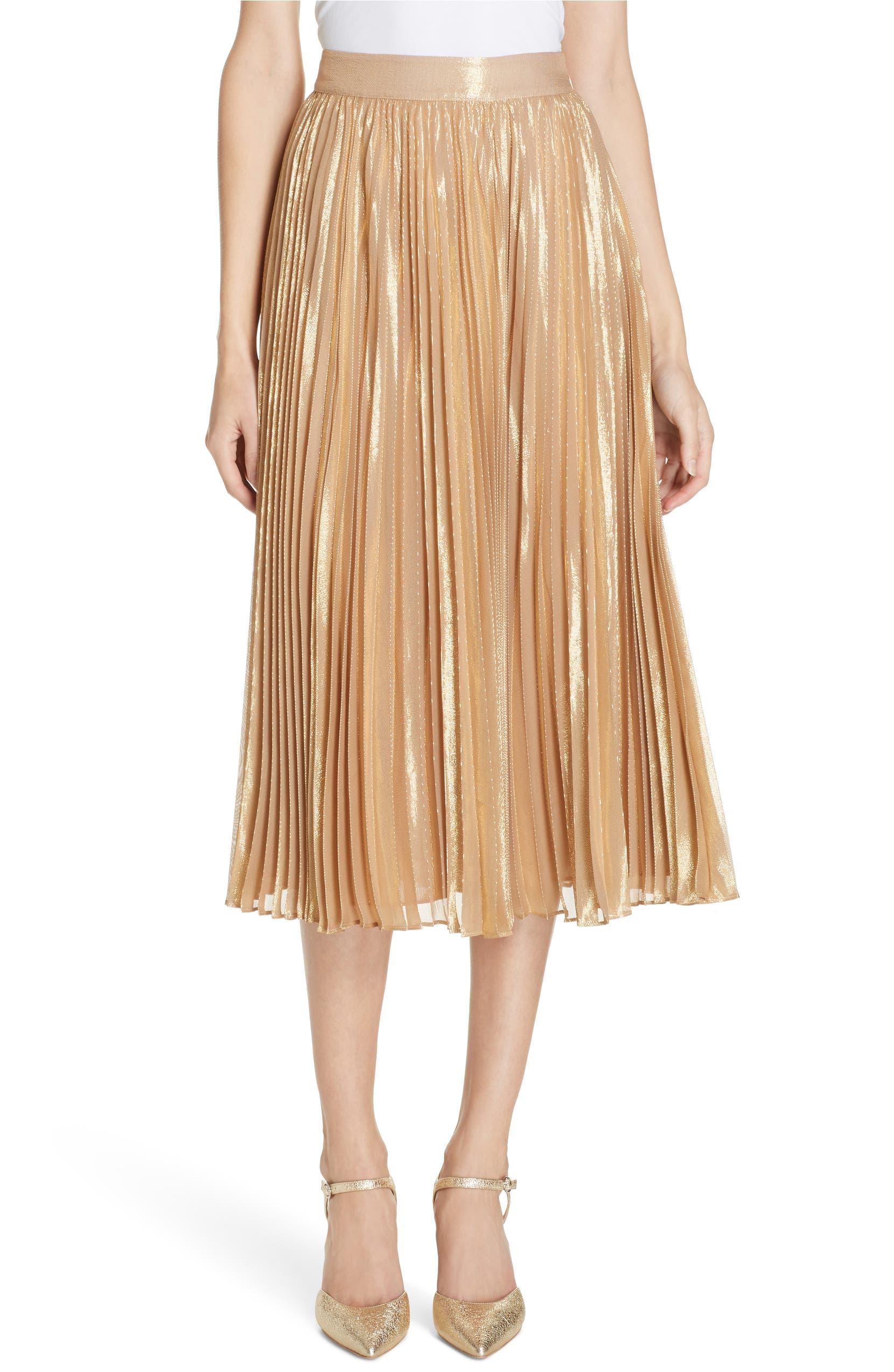 8200bbecec kate spade new york pleat metallic pleat midi skirt | Nordstrom