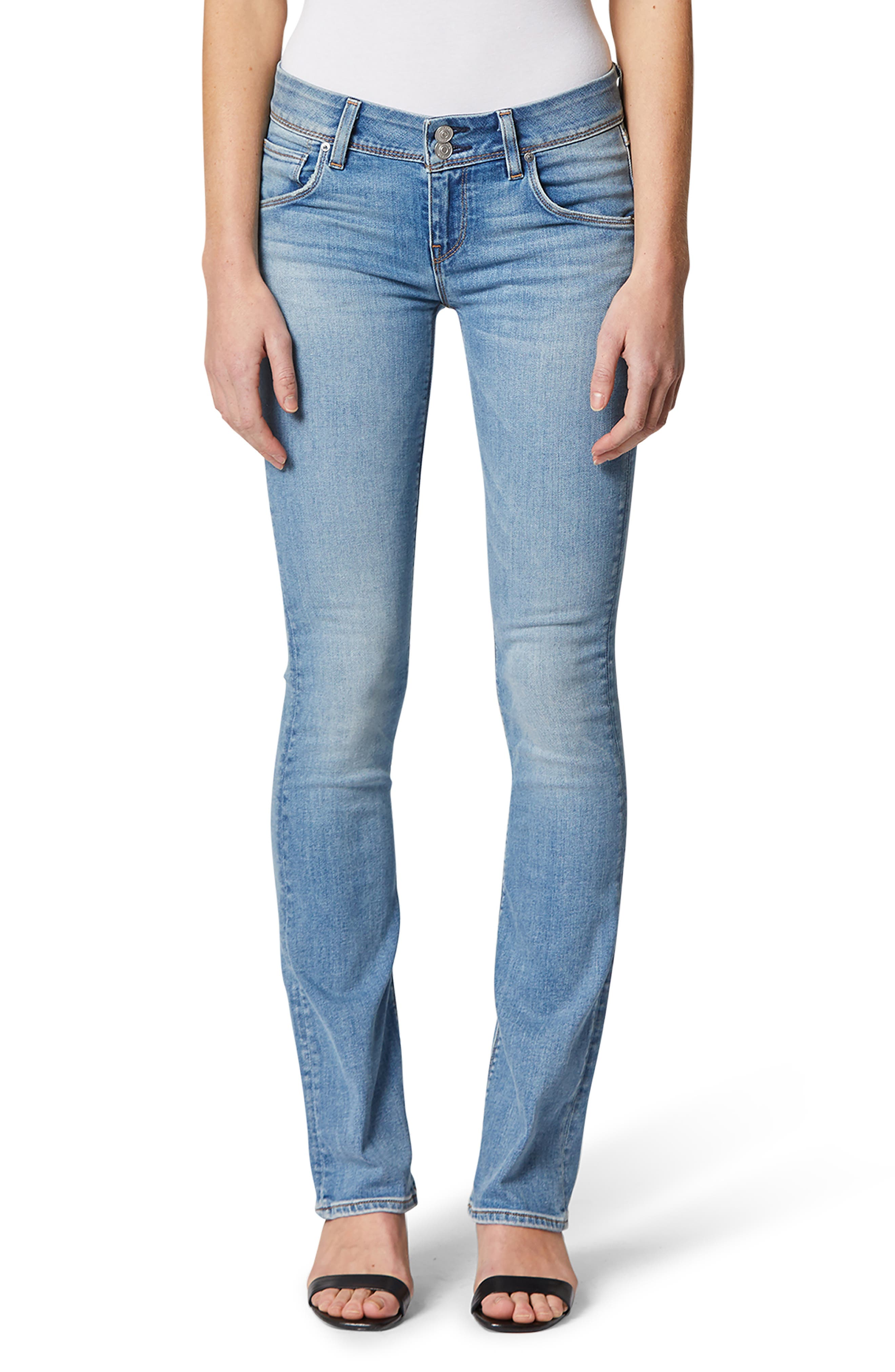 Tailored with stretch for comfort, these mid-rise bootcut jeans hug your curves and feature a light, slightly faded wash. Style Name: Hudson Jeans Beth Midrise Baby Bootcut Jeans (Outplay). Style Number: 6011105. Available in stores.