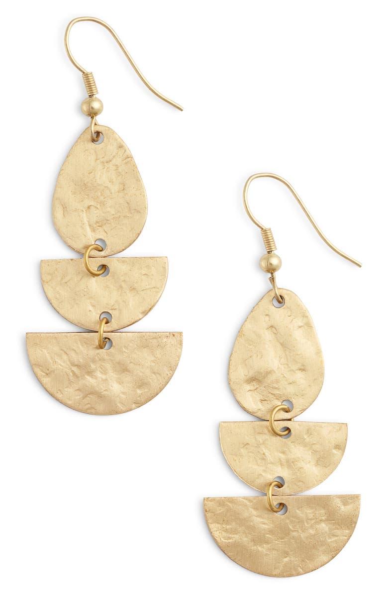 TEN79LA Triple Crescent Earrings, Main, color, 710