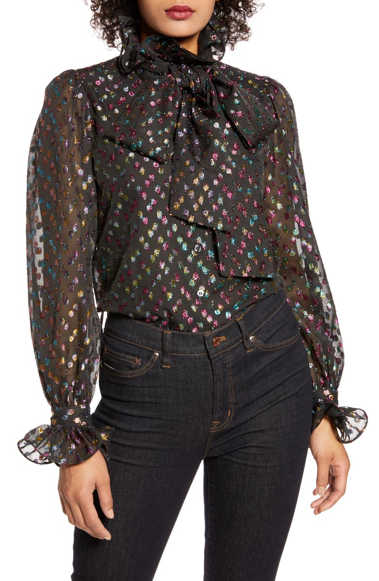 HALOGEN<SUP>®</SUP> x Atlantic-Pacific Ruffle Bow Metallic Fil Coupé Blouse, Main, color, BLACK- RAINBOW CLIP DOT