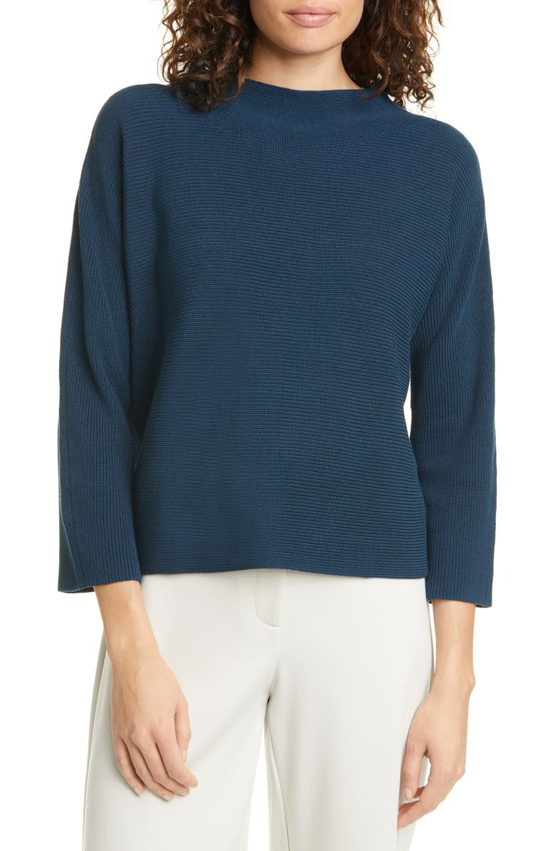 EILEEN FISHER Funnel Neck Silk & Organic Cotton Sweater, Main, color, STORM