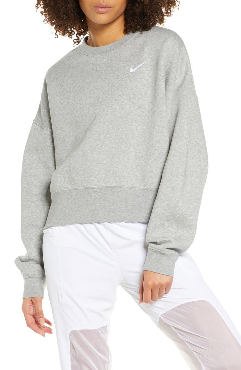 NIKE Sportswear Crewneck Sweatshirt, Main, color, DARK GREY HEATHER/ WHITE