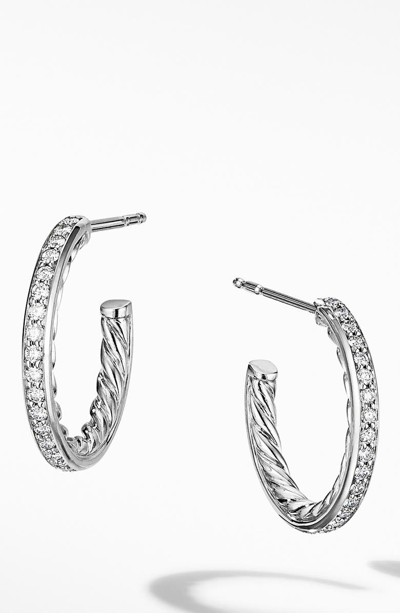 DAVID YURMAN Extra Small Hoop Earrings with Pavé Diamonds, Main, color, DIAMOND