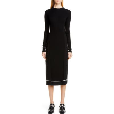 Proenza Schouler Contrast Trim Wool Blend Midi Sweater Dress, Black
