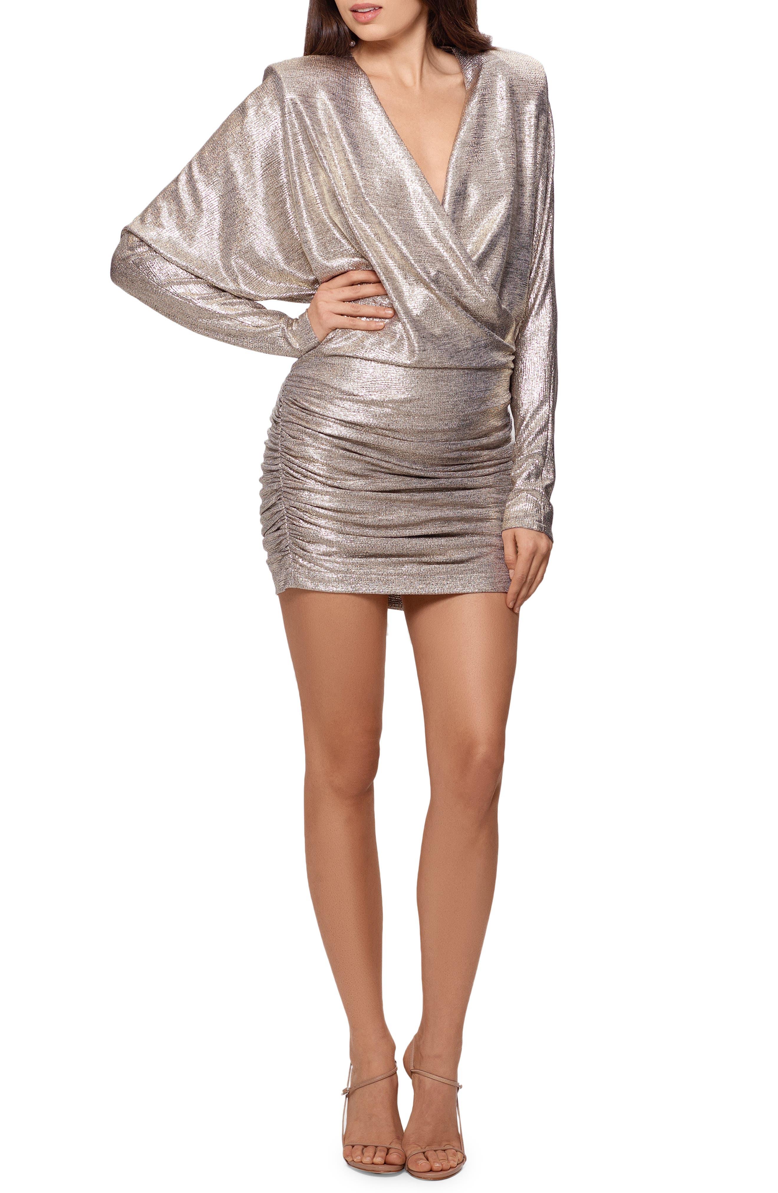 Metallic Surplice Long Sleeve Minidress