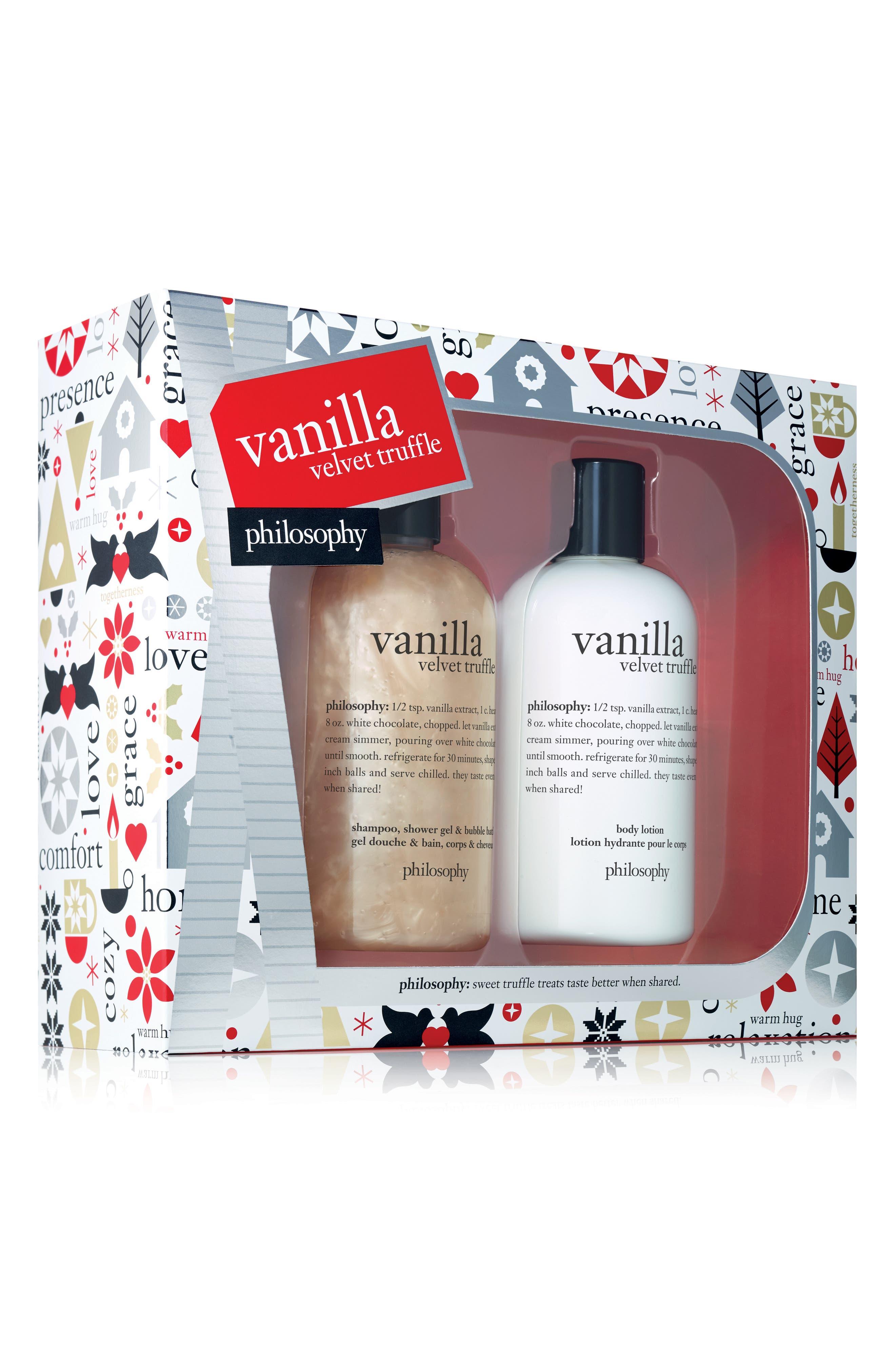 Image of philosophy vanilla velvet truffle shower gel and lotion set