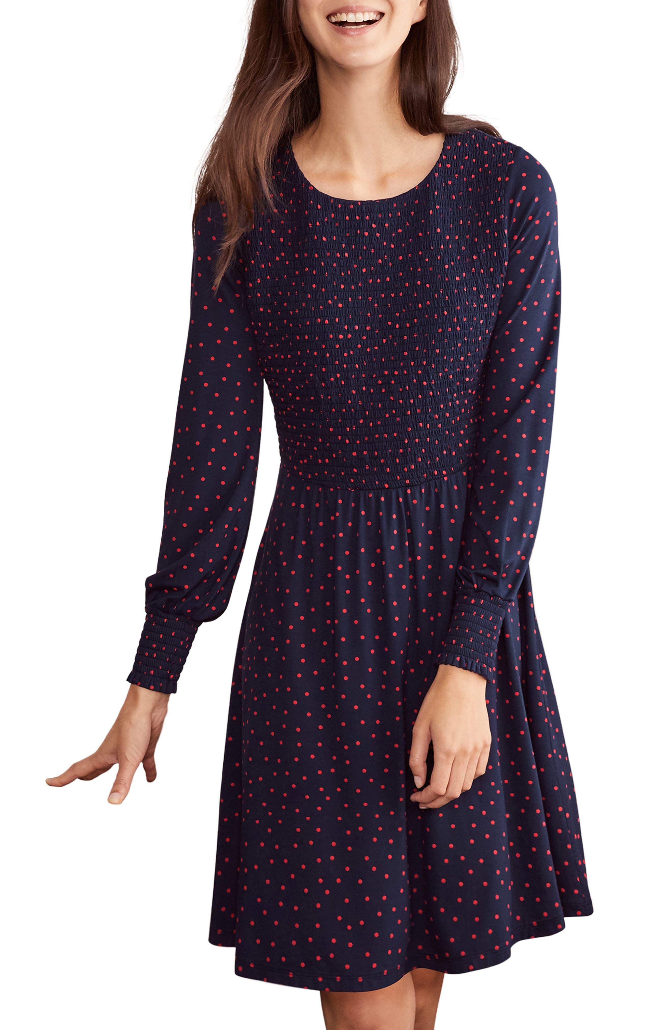 Image of BODEN Lena Dot Smocked Long Sleeve Dress