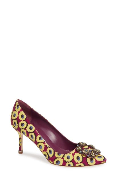 4a0b78b3227fa Manolo Blahnik 'Hangisi' Crystal Embellished Pump In Yellow Floral Print